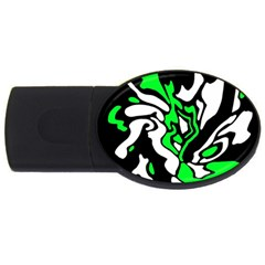 Green, White And Black Decor Usb Flash Drive Oval (4 Gb)  by Valentinaart