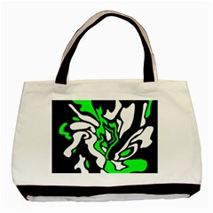 Green, White And Black Decor Basic Tote Bag by Valentinaart