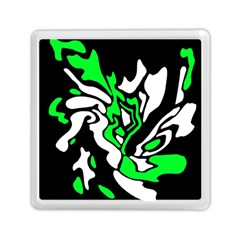 Green, White And Black Decor Memory Card Reader (square)  by Valentinaart