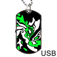 Green, White And Black Decor Dog Tag Usb Flash (two Sides)  by Valentinaart
