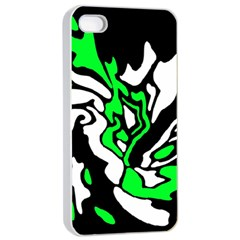 Green, White And Black Decor Apple Iphone 4/4s Seamless Case (white) by Valentinaart