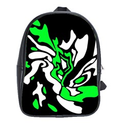 Green, White And Black Decor School Bags (xl)