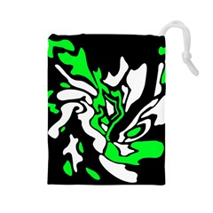 Green, White And Black Decor Drawstring Pouches (large)