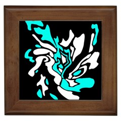 Cyan, Black And White Decor Framed Tiles by Valentinaart