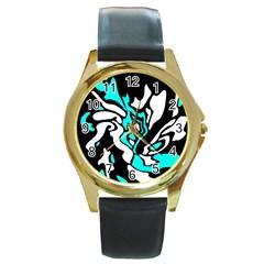 Cyan, Black And White Decor Round Gold Metal Watch by Valentinaart