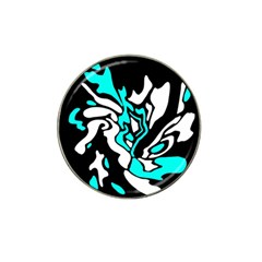 Cyan, Black And White Decor Hat Clip Ball Marker by Valentinaart