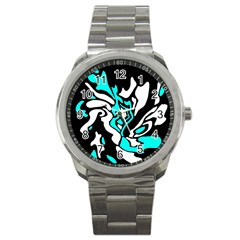 Cyan, Black And White Decor Sport Metal Watch by Valentinaart