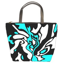 Cyan, Black And White Decor Bucket Bags by Valentinaart