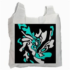 Cyan, Black And White Decor Recycle Bag (two Side)  by Valentinaart