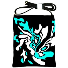 Cyan, Black And White Decor Shoulder Sling Bags by Valentinaart
