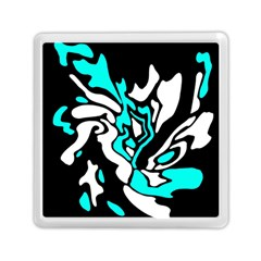 Cyan, black and white decor Memory Card Reader (Square)  by Valentinaart