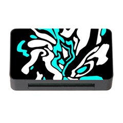 Cyan, Black And White Decor Memory Card Reader With Cf by Valentinaart