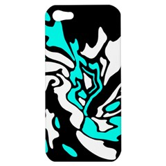 Cyan, Black And White Decor Apple Iphone 5 Hardshell Case by Valentinaart