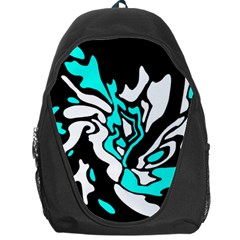 Cyan, Black And White Decor Backpack Bag by Valentinaart