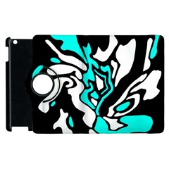 Cyan, Black And White Decor Apple Ipad 3/4 Flip 360 Case by Valentinaart