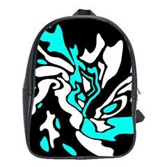 Cyan, Black And White Decor School Bags (xl)