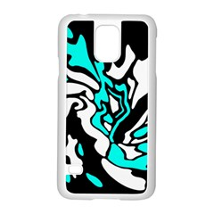 Cyan, Black And White Decor Samsung Galaxy S5 Case (white) by Valentinaart