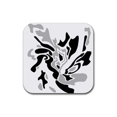Gray, Black And White Decor Rubber Coaster (square)  by Valentinaart