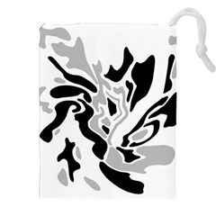 Gray, Black And White Decor Drawstring Pouches (xxl) by Valentinaart