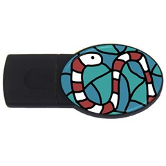 Red Snake Usb Flash Drive Oval (2 Gb)  by Valentinaart