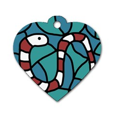 Red Snake Dog Tag Heart (two Sides) by Valentinaart