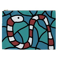 Red Snake Cosmetic Bag (xxl)  by Valentinaart