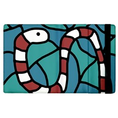 Red Snake Apple Ipad 3/4 Flip Case by Valentinaart