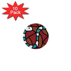 Blue Snake 1  Mini Buttons (10 Pack)  by Valentinaart