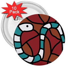 Blue Snake 3  Buttons (10 Pack)  by Valentinaart