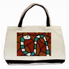 Blue Snake Basic Tote Bag by Valentinaart