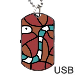 Blue Snake Dog Tag Usb Flash (two Sides)  by Valentinaart