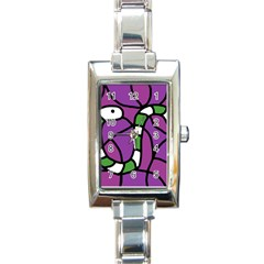 Green Snake Rectangle Italian Charm Watch by Valentinaart