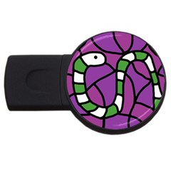 Green Snake Usb Flash Drive Round (4 Gb)  by Valentinaart
