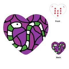 Green Snake Playing Cards (heart)  by Valentinaart