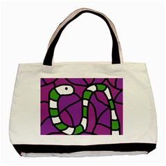 Green Snake Basic Tote Bag by Valentinaart