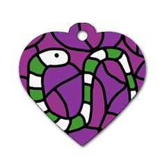 Green Snake Dog Tag Heart (one Side) by Valentinaart