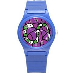 Green Snake Round Plastic Sport Watch (s) by Valentinaart