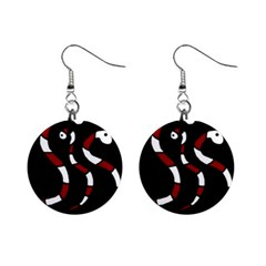 Red Snakes Mini Button Earrings by Valentinaart