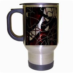 Red Black And White Abstract High Art Travel Mug (silver Gray) by Valentinaart