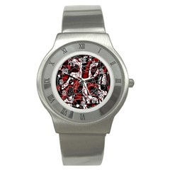 Red Black And White Abstract High Art Stainless Steel Watch by Valentinaart
