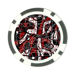 Red Black And White Abstract High Art Poker Chip Card Guards by Valentinaart