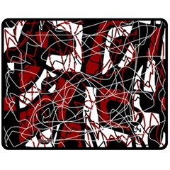 Red Black And White Abstract High Art Fleece Blanket (medium)  by Valentinaart