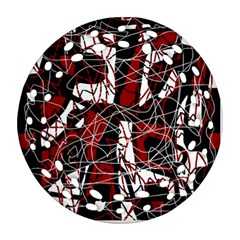 Red Black And White Abstract High Art Ornament (round Filigree)  by Valentinaart