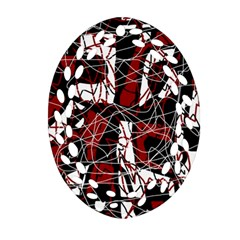 Red Black And White Abstract High Art Oval Filigree Ornament (2 Side)  by Valentinaart