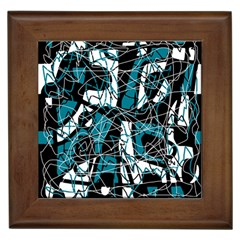 Blue, Black And White Abstract Art Framed Tiles by Valentinaart