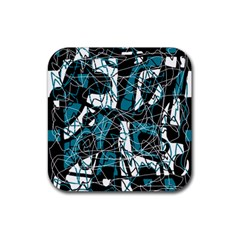 Blue, Black And White Abstract Art Rubber Square Coaster (4 Pack)  by Valentinaart