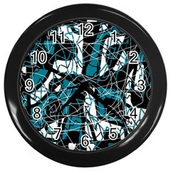 Blue, black and white abstract art Wall Clocks (Black)