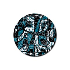 Blue, Black And White Abstract Art Rubber Coaster (round)  by Valentinaart