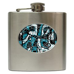Blue, Black And White Abstract Art Hip Flask (6 Oz) by Valentinaart