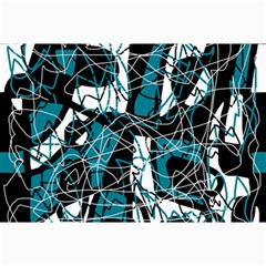 Blue, Black And White Abstract Art Collage Prints by Valentinaart
